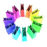 3d Circular array of colored shopping bags. 3d render of a circular array of colored shopping bags Stock Images