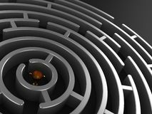 3D Circular maze with prize. Perspective 3D render of a circular maze with prize in the centre Stock Photography