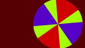 2D cirkel grafisch die patroon dat in ruimte op een achtergrond roteert die in kleur varieert, uit verschillende ventilatorkleure stock illustratie