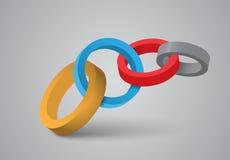 3d cirklar chain data Arkivbilder