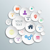 3d cirklar informationsdiagram för orienteringen för arbetsflöde, diagrammet, nummeralternativ, rengöringsdukdesign Arkivfoto