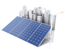 3d City with alternative energy. Stock Photography