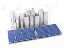3d City with alternative energy. Royalty Free Stock Images