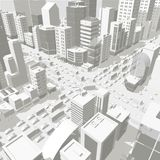 3d city buildings background street In light gray tones. Road Intersection. High detail city projection view. Cars end stock photo
