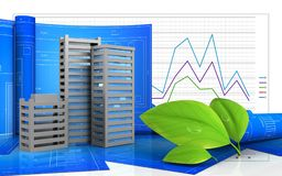 3d city buildings construction. 3d illustration of city buildings construction with drawing roll over business graph background Stock Images