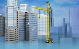 3d of city buildings construction. 3d illustration of city buildings construction with urban scene over skyscrappers background Stock Image
