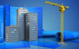 3d of city buildings. 3d illustration of city buildings with drawing roll over blue background Stock Photo