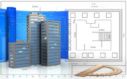 3d of city buildings. 3d illustration of city buildings with drawing roll over blueprint background Royalty Free Stock Photos