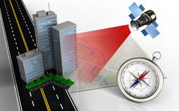 3d city buildings. 3d illustration of bright map with city buildings and compass Royalty Free Stock Photography