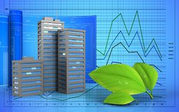 3d of city buildings. 3d illustration of city buildings with drawing roll over graph background Stock Photography