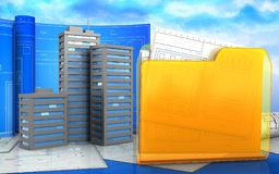 3d of city buildings. 3d illustration of city buildings with drawing roll over sky background Royalty Free Stock Photos