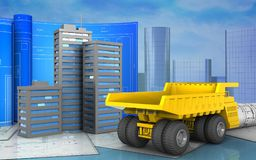 3d of city buildings. 3d illustration of city buildings with drawing roll over skyscrappers background Royalty Free Stock Images