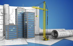 3d of city buildings. 3d illustration of city buildings with drawings over blue background Royalty Free Stock Image