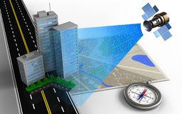 3d city buildings. 3d illustration of map with city buildings and compass Royalty Free Stock Photos