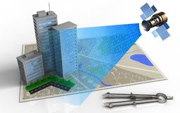 3d city buildings. 3d illustration of map with city buildings and satellite digital signal Stock Image