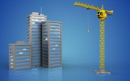 3d of city buildings. 3d illustration of city buildings over blue background Royalty Free Stock Photos