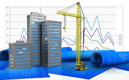3d of city buildings. 3d illustration of city buildings over business graph background Stock Photo
