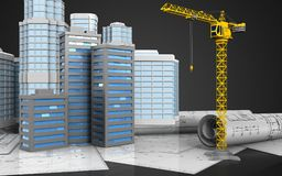 3d of city buildings. 3d illustration of city buildings with urban scene over black background Royalty Free Stock Photo