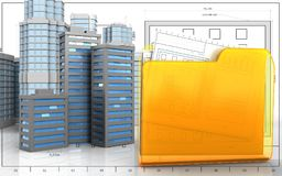 3d of city buildings Stock Photos
