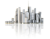 3d city isolated on mirror floor Stock Image
