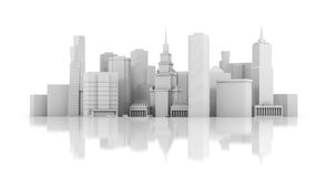3d city isolated on mirror floor Royalty Free Stock Photos