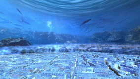 3d city lie under the ocean stock video footage