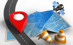 3d city map. 3d illustration of city map with point icon and repair cones Stock Photo
