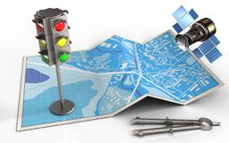 3d city map Stock Photography
