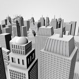 3D City Model. With Gray Buildings And Gray Sky Stock Images