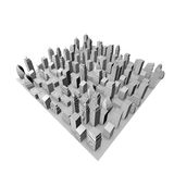3D City Model. With Gray Buildings And White Sky Stock Photo