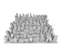 3D City Model. With Gray Buildings And White Sky Stock Photos