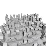 3D City Model. With Gray Buildings And White Sky Royalty Free Stock Image