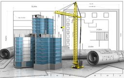 3d of city quarter construction Stock Photography