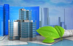 3d of city quarter construction Royalty Free Stock Images