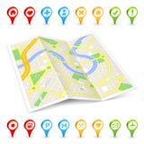 3D Citymap dobrado turista Imagem de Stock Royalty Free