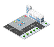 3d cityscape city. Street public block house from above highway intersection transportation street. Isometric winter landscape of skyscraper view of building Stock Photos