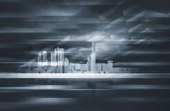 3d cityscape skyline and dark dramatic sky. Abstract contemporary background. Cityscape skyline, dark dramatic sky and polygonal structures layer. Blue toned Royalty Free Stock Photography
