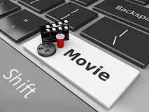 3d Clapper board with Film reel on computer keyboard. 3d illustration. Clapper board with Film reel and drink on computer keyboard. Cinematography concept Stock Image