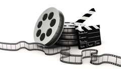 3d clapper board and film roll. On white background Royalty Free Stock Photos