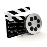 3d clapper board and film roll. On white background Royalty Free Stock Images
