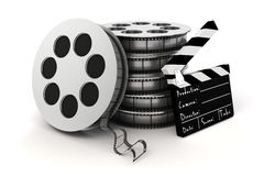 3d clapper board and film roll. On white background Stock Photography