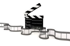 3d clapper board and film strip. On white background Royalty Free Stock Photography