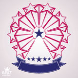 3d classic festive symbol with aristocratic stars. Detailed mona. Rch perspective design element, decorative elegant template with ribbon. Superstar brand icon Royalty Free Stock Photos