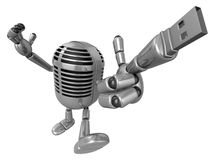 3D Classic microphone is connected to a USB memory stick fingert Royalty Free Stock Image