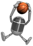 3D Classic Microphone a dunks with both hands. 3D Classic Microp Royalty Free Stock Images