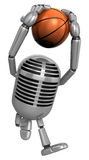 3D Classic Microphone a dunks with both hands. 3D Classic Microp Stock Photography