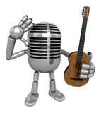 3D Classic Microphone is holding acoustic guitar. 3D Classic Mic Stock Photos