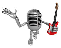 3D Classic Microphone is holding electric guitar. 3D Classic Mic Royalty Free Stock Photography