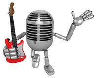 3D Classic Microphone is holding electric guitar. 3D Classic Mic Royalty Free Stock Photo