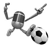 3D Classic Microphone kicking a powerful shot. 3D Classic Microp Royalty Free Stock Photo